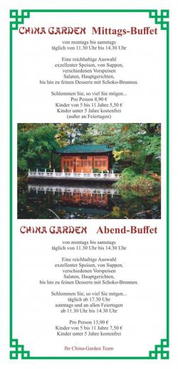 China Garden Mittags- und Abend Buffet