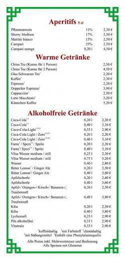 Aperitifs - Warme Getränke - Alkoholfreie Getränke